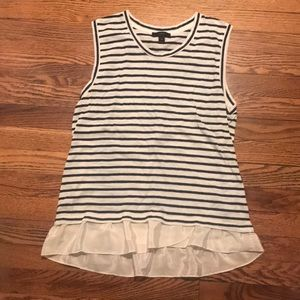 Blue and white striped tank